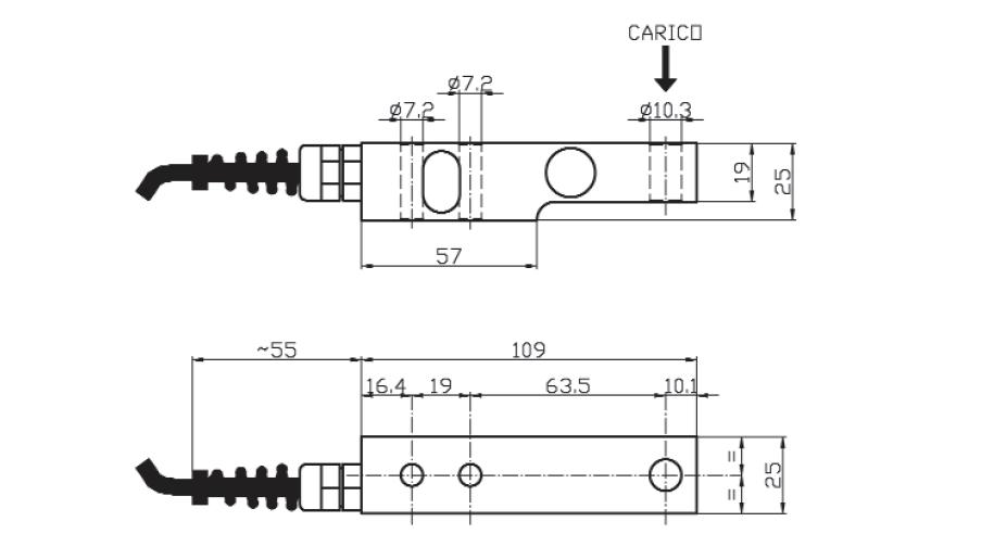 Scherkraft-Wägezelle TS1 Schema