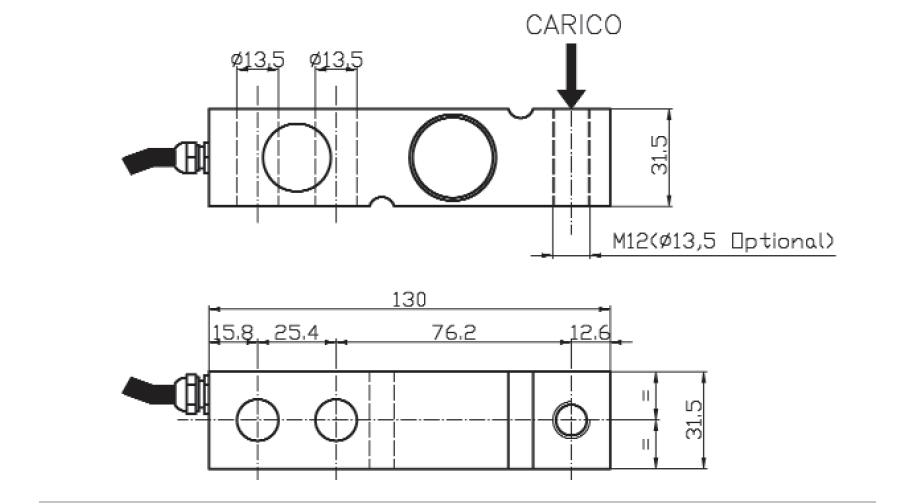 Scherkraft-Wägezelle TS2 Schema