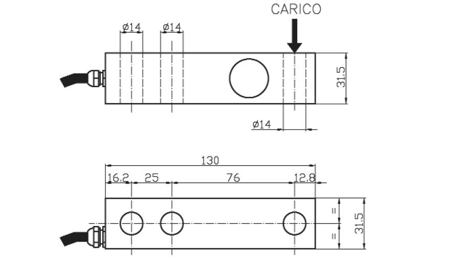 Scherkraft-Wägezelle TS4 Schema