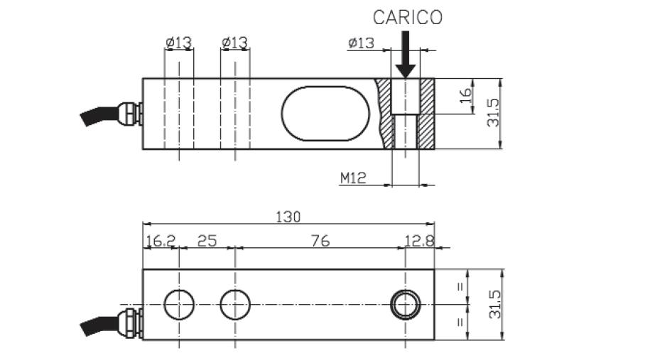 Scherkraft-Wägezelle TS5 Schema