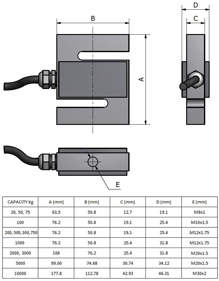 Zugkraft-Wägezelle AF5 Schema