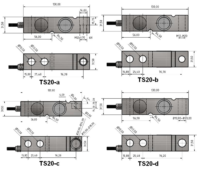 Scherkraft-Wägezelle TS20 Schema