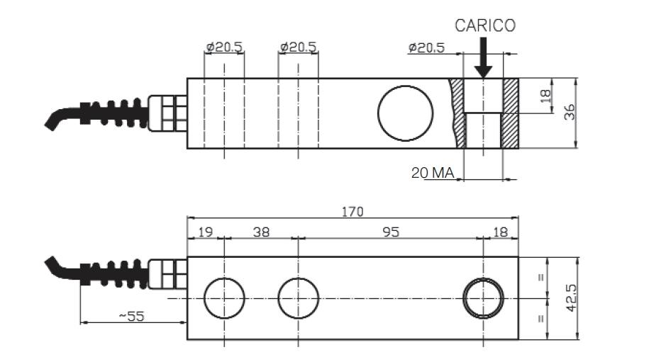 Scherkraft-Wägezelle TS6 Schema