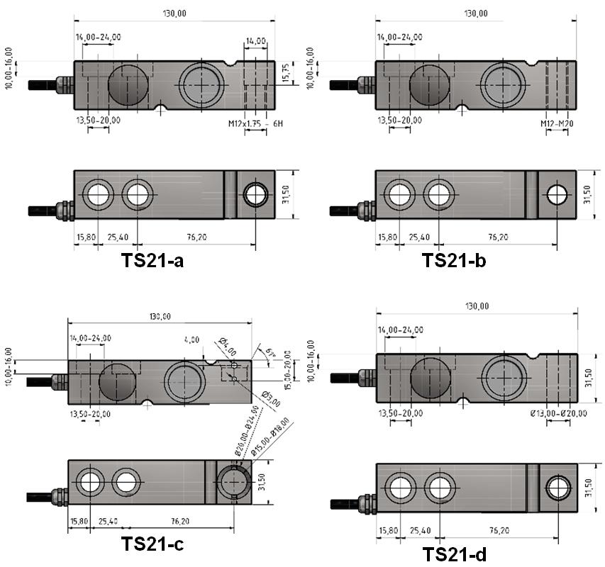 Scherkraft-Wägezelle TS21 Schema