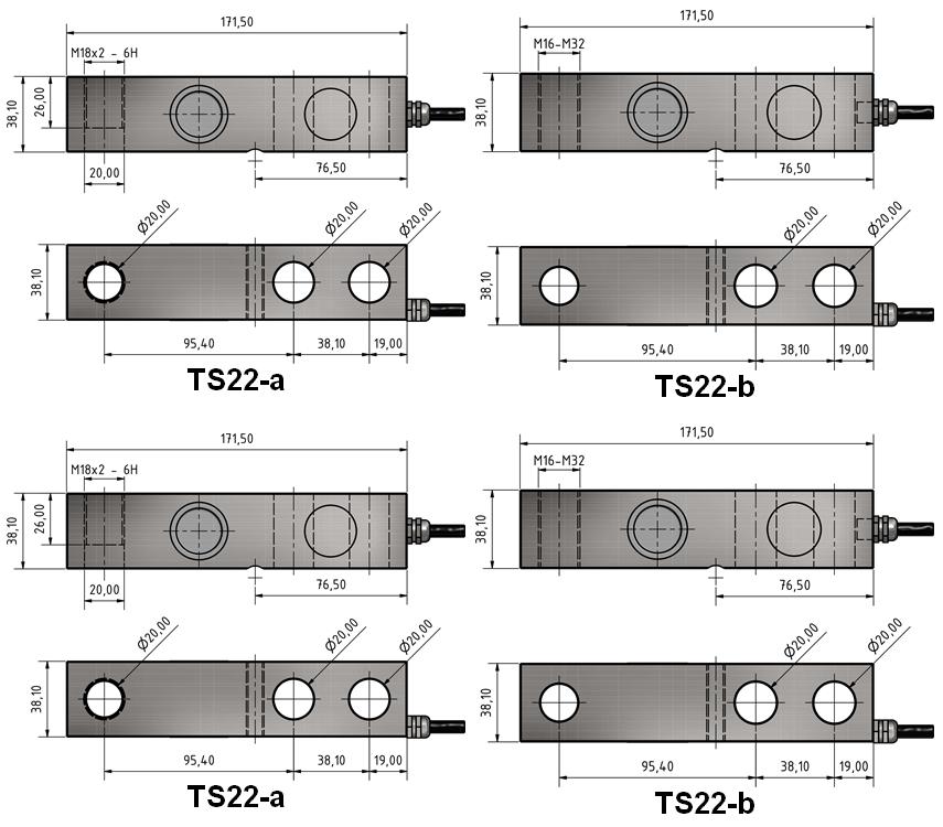 Scherkraft-Wägezelle TS22 Schema
