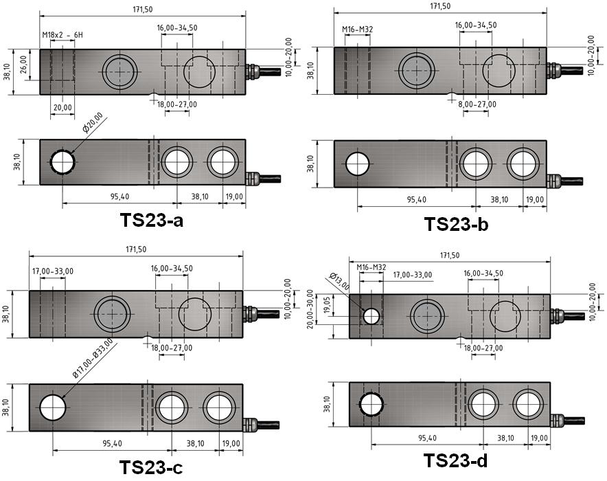 Scherkraft-Wägezelle TS23 Schema