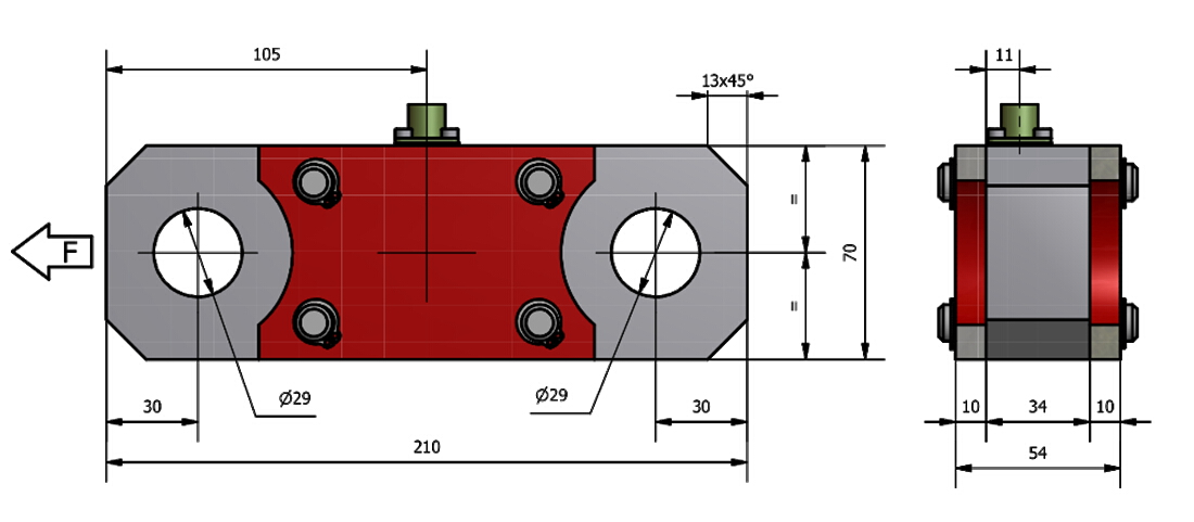 Zugkraft-Wägezelle AF3/R Schema