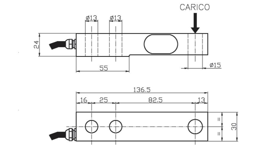 Scherkraft-Wägezelle TS15 Schema