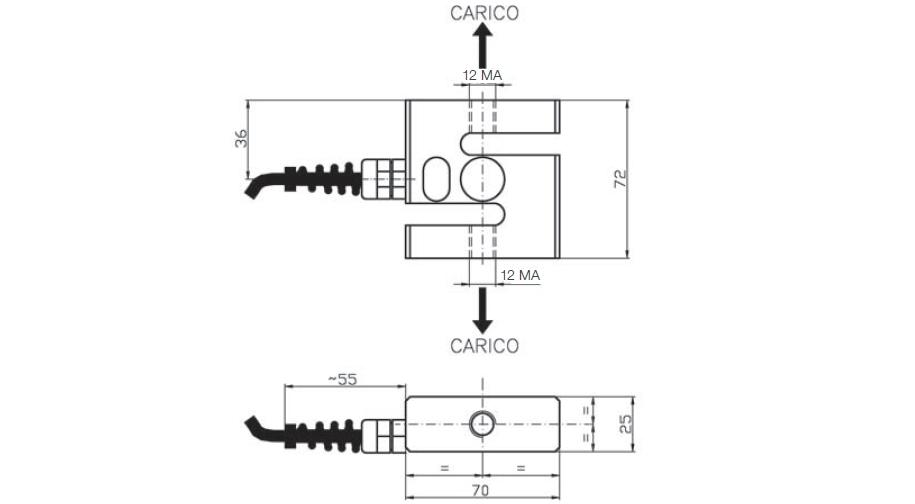 Zugkraft-Wägezelle AF1 Schema