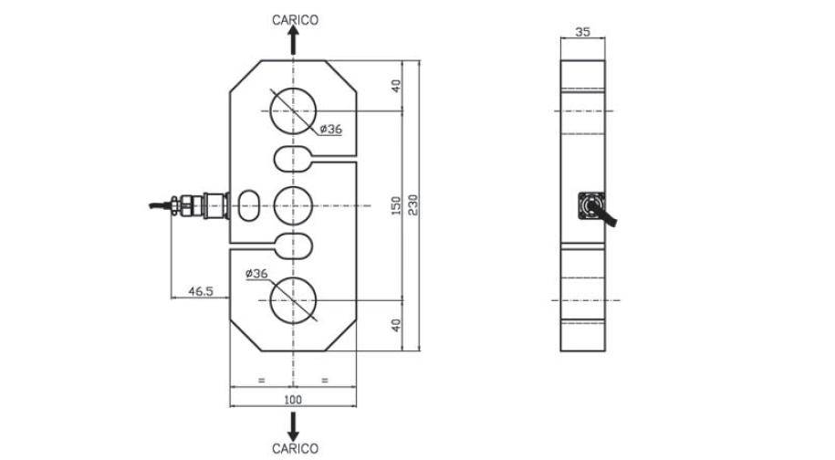 Tension load cell AF6 Schema