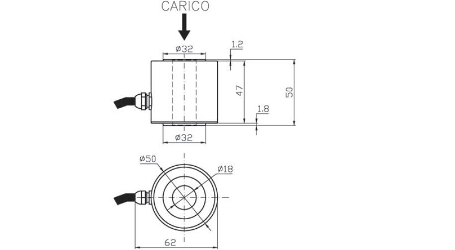 Druckkraft-Wägezelle OT1 Schema