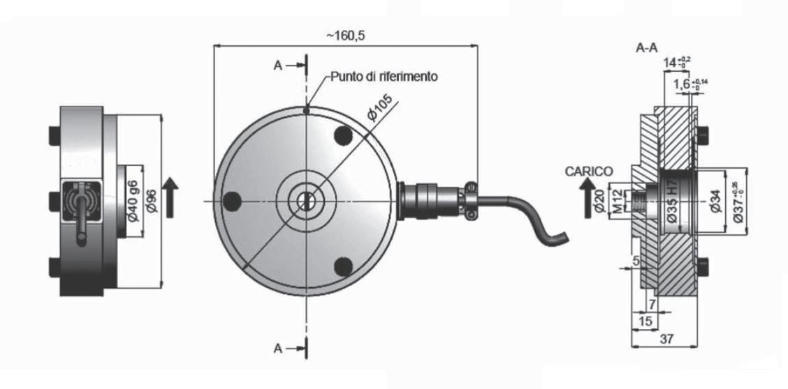 Rollen-Wägezelle R104F Schema